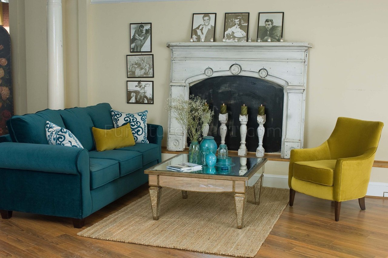 Casual Fabric Living Room Blue Sofa & Golden Green Chair Set