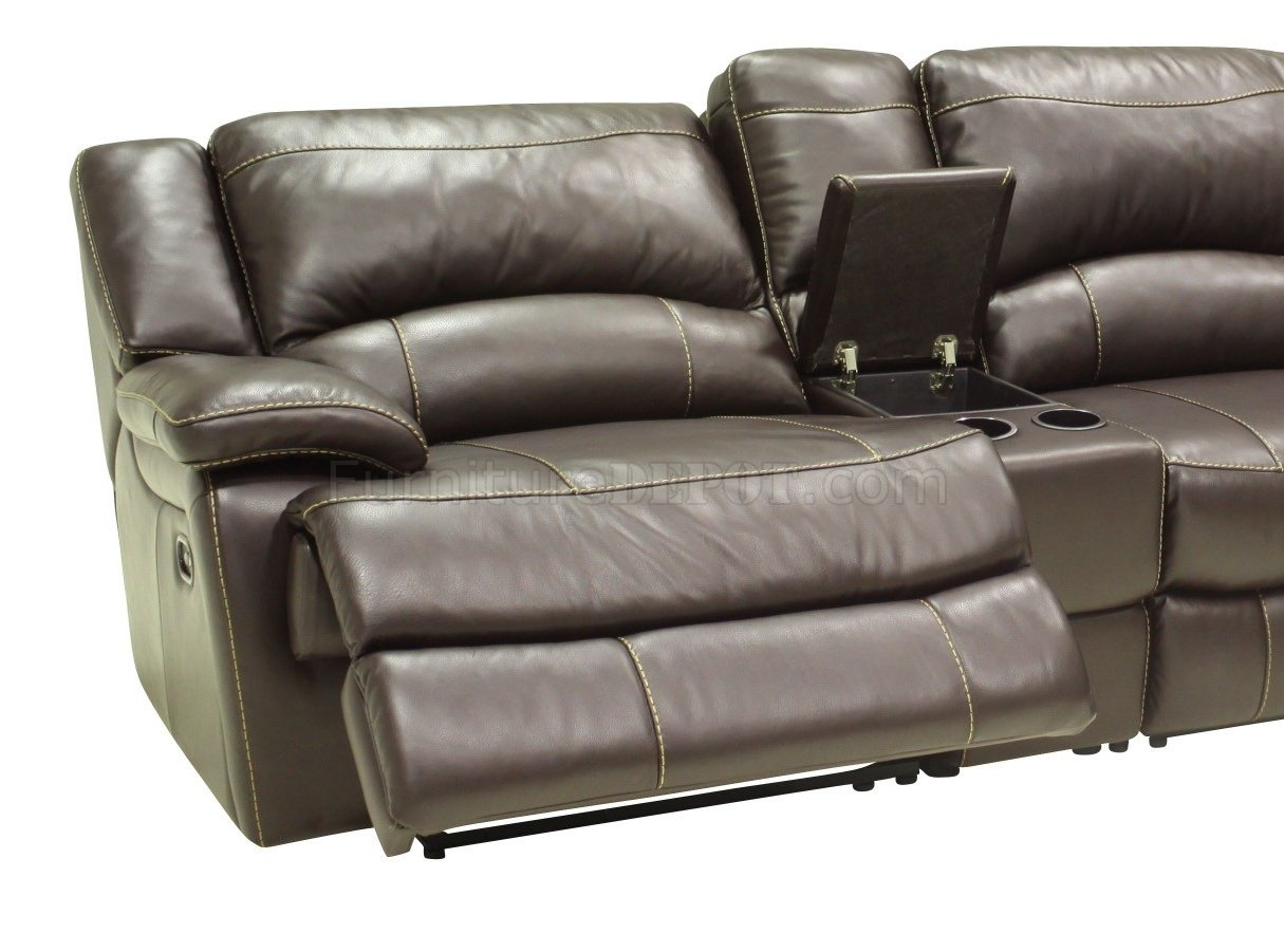 Mahogany full leather 4pc modern sectional reclining sofa for Sectional sofas with 4 recliners
