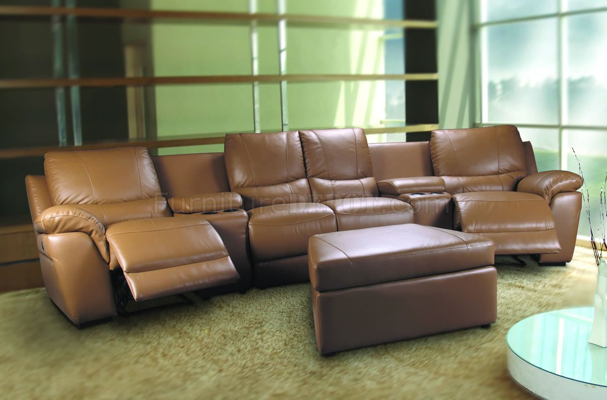 Beige Leatherette Home Theater Sectional W Motorized Recliners
