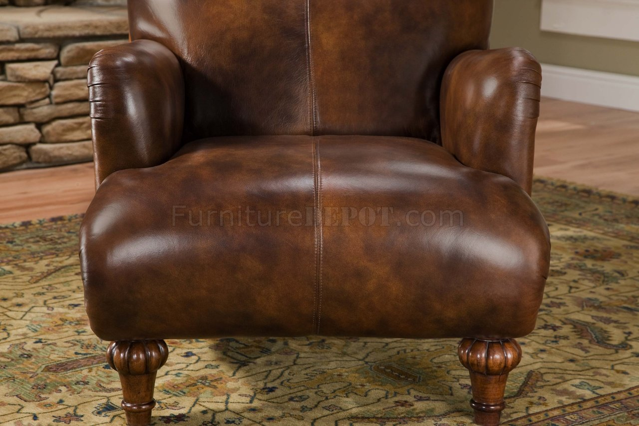 Cognac Brown Top Grain Leather Traditional Chair Amp Ottoman