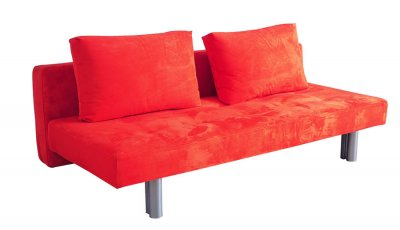 Modern Sleeper Sofa in Kiwi Green or Orange Microfiber