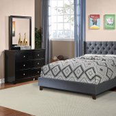 F9371 Bedroom Set By Boss W/Blue Grey Fabric Upholstered Bed New