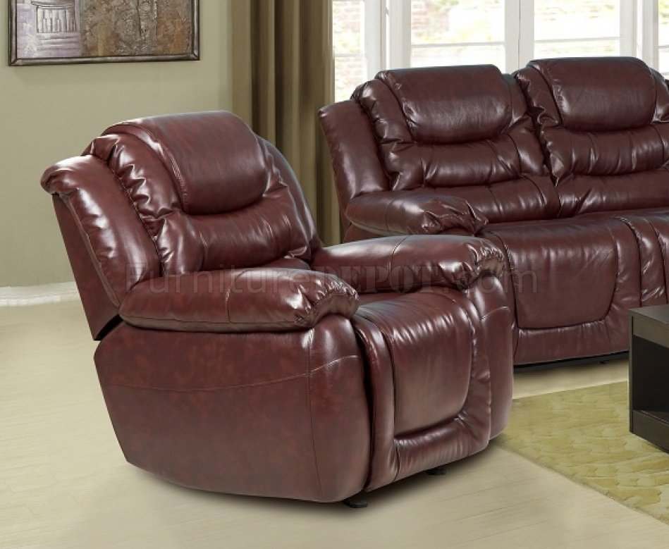 7252 reclining sofa in burgundy bonded leather w optional items Burgundy leather loveseat