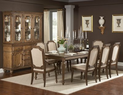 Driftwood Finish Classic Dining Table w/Extension Leaf & Options