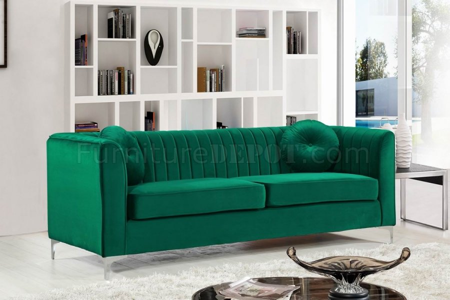 Isabelle 612 Sofa In Green Velvet Fabric By Meridian W Options