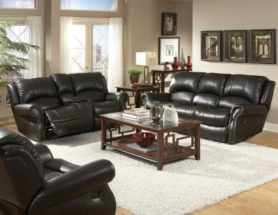 Leather Sofaloveseat on Black Bonded Leather Sofa   Loveseat Set W Recliner Seats At Furniture