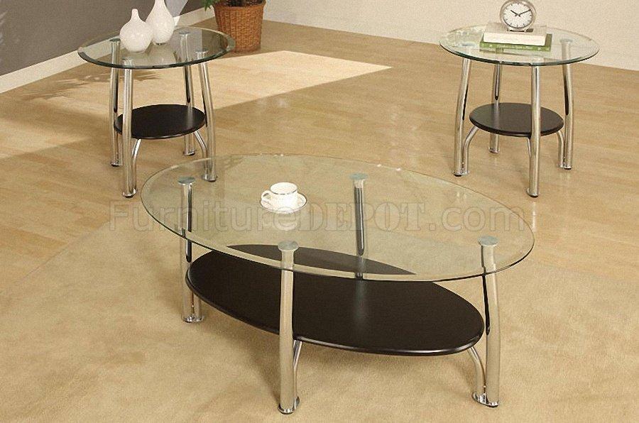 Metalic Steel Frame Modern 3pc Coffee Table Set W Glass Top