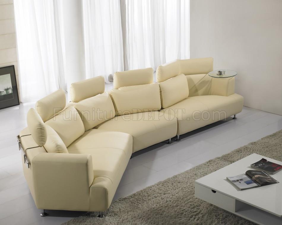 cream full leather wave shape modern sectional sofa p