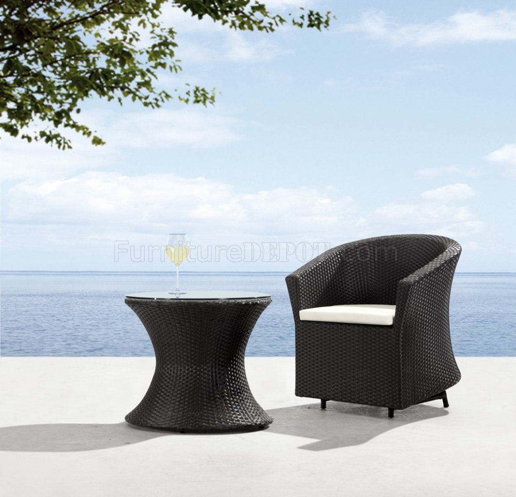 Black White Modern 2pc Outdoor Patio Chair Coffee Table Set