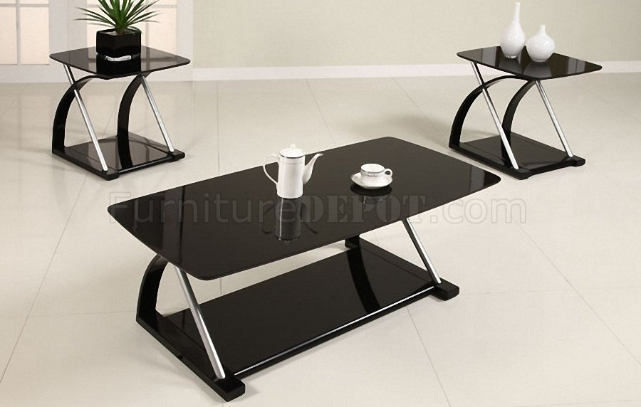 & Black Glass Modern 3PC Coffee Table Set w/Metal Frame