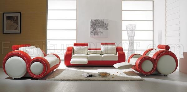 Piece Stylish Modern Leather Living Room Set T27 Red and White