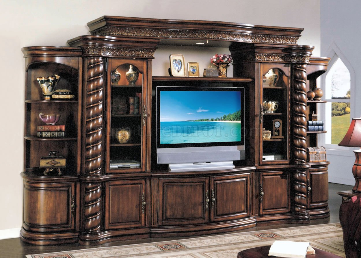 Distressed cherry finish traditional entertainment wall unit How to build an entertainment wall unit