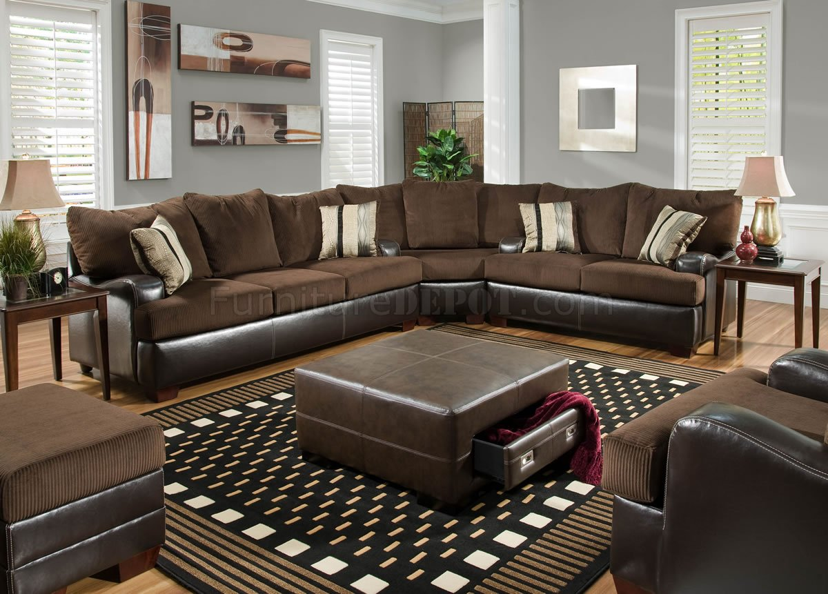 Brown Godiva Fabric Modern Sectional Sofa w/Bonded Leather Base