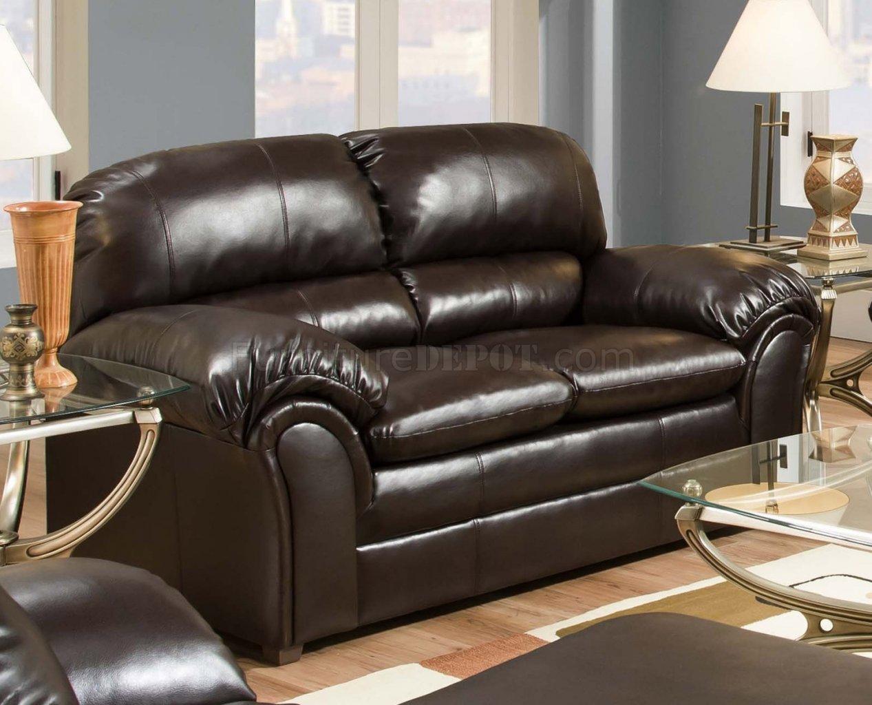 Vintage Bonded Leather Sofa Loveseat Set W Heavily Padded Back