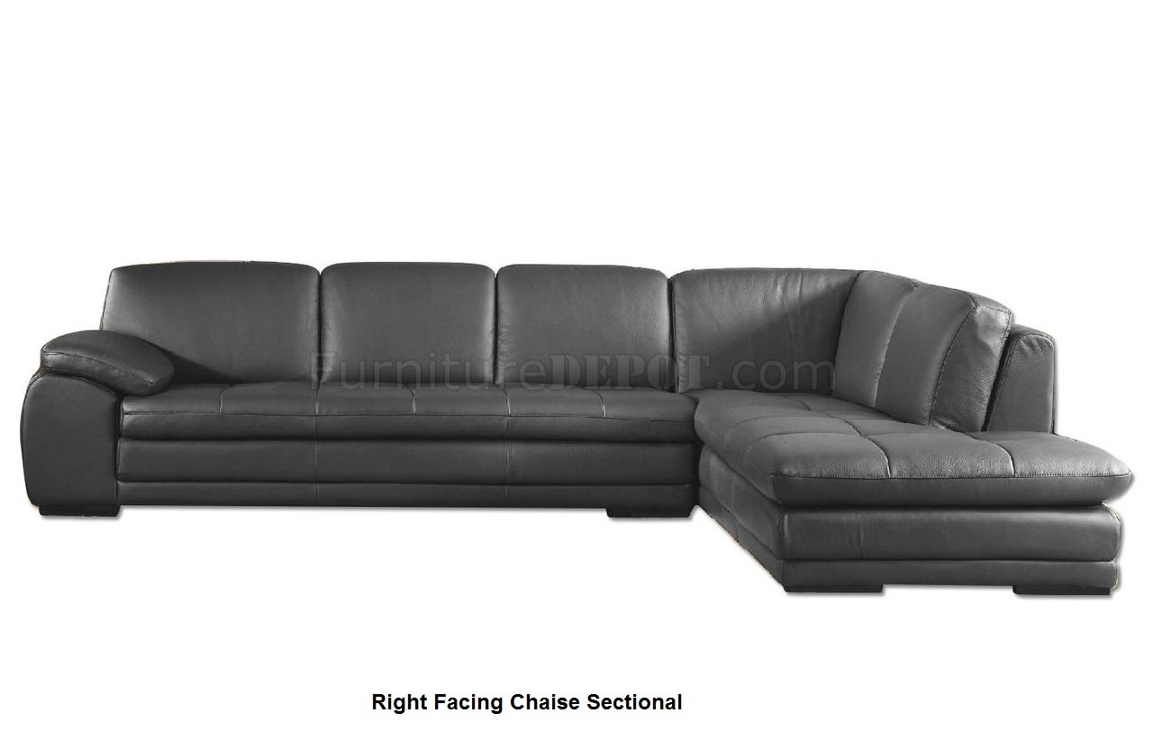 Ml157 Sectional Sofa In Gray Leather By Beverly Hills