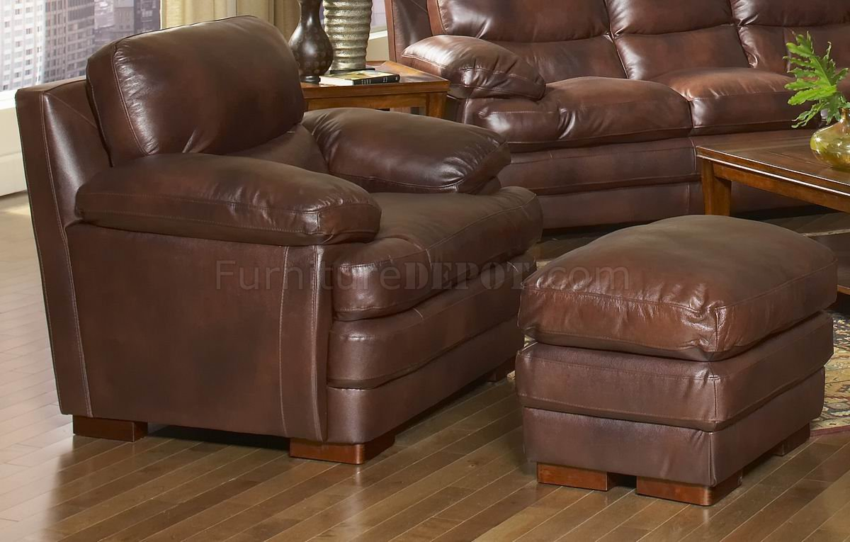 Leather Italia Classic Brown Baron Sofa U0026 Loveseat Set W/Options