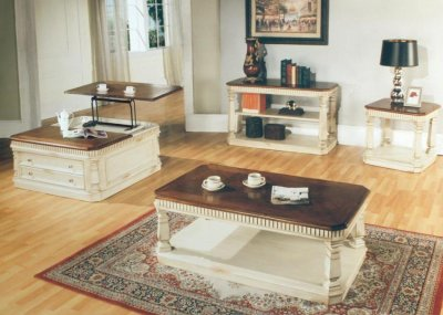 Antique vintage cream coffee table w walnut top options for Antique cream coffee table