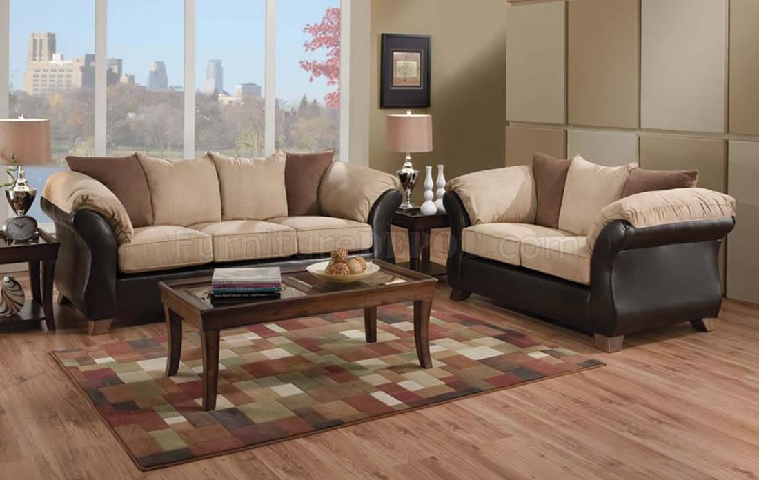 Beautiful Leather and Micro Suede Three-Tone Sofa and Loveseat Set PA65
