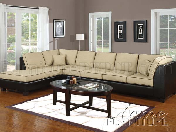 Khaki Fabric Amp Espresso Vinyl Modern Sectional Sofa W Options