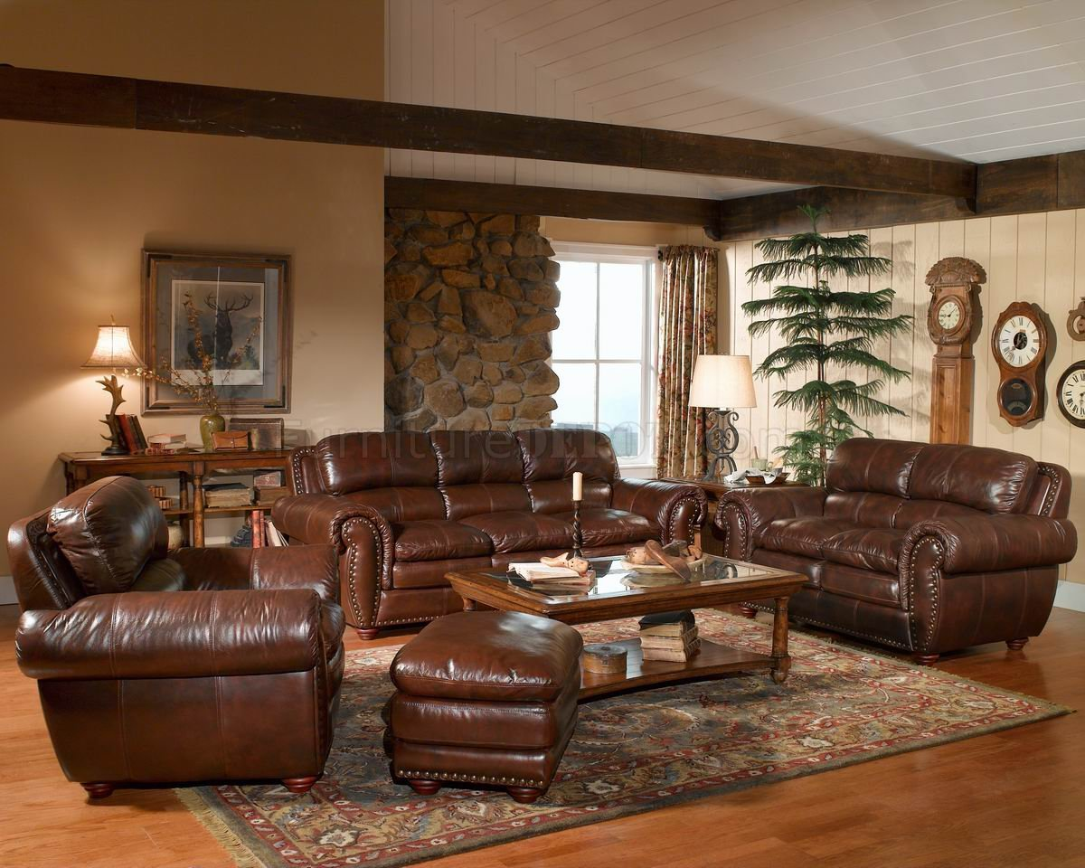 Leather italia aspen brown sofa loveseat set w options for Leather living room decorating ideas