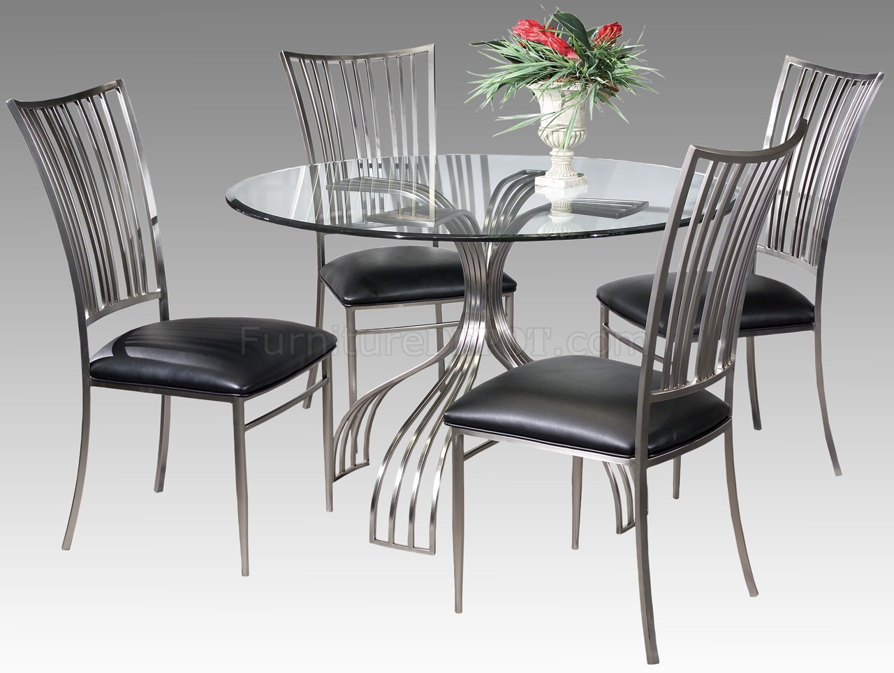 Brushed nickel frame modern 5 piece dinette set for Kitchen tables near me