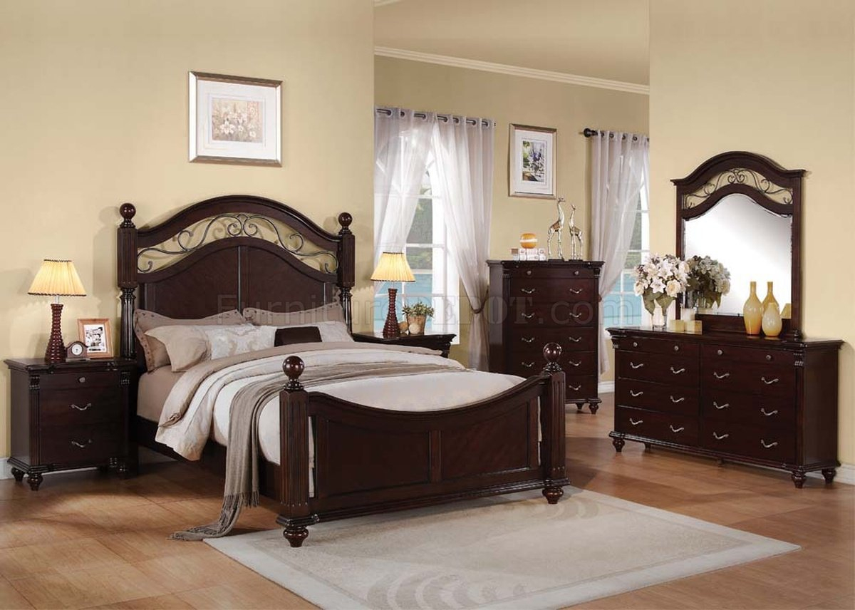 Image of: 21550 Cleveland Bedroom In Dark Cherry By Acme W Options