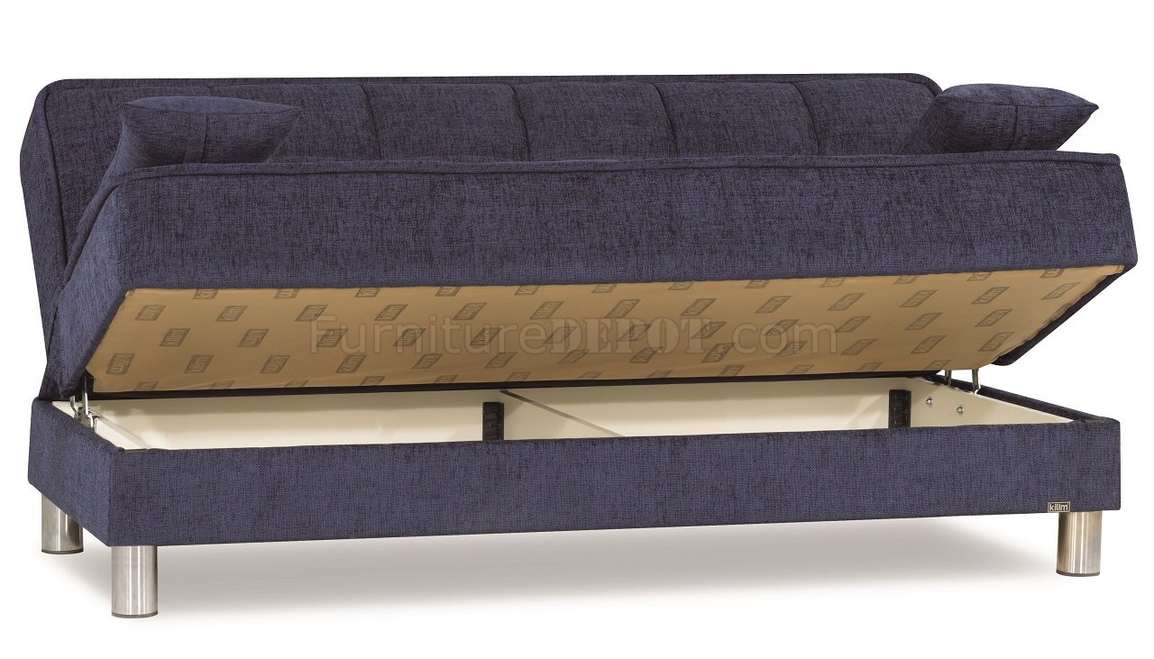 smart fit sofa bed in dark blue fabric by casamode. Black Bedroom Furniture Sets. Home Design Ideas