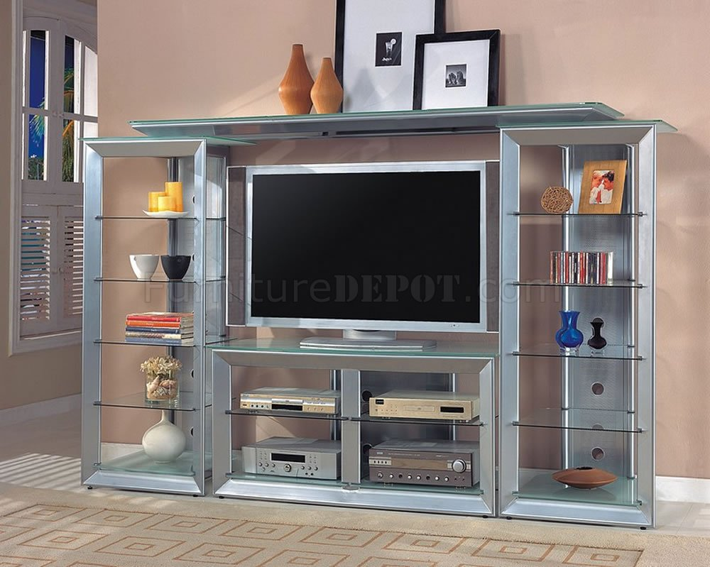 silver color contemporary tv stand w glass shelves. Black Bedroom Furniture Sets. Home Design Ideas
