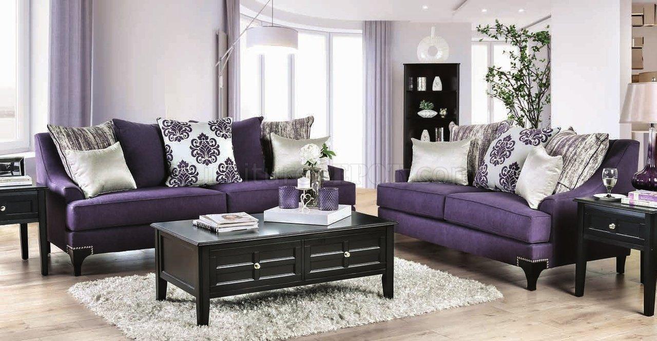 Sisseton Sofa Sm2208 In Purple Chenille Fabric W Options