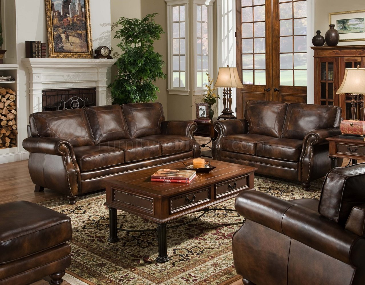 Brown Top Grain Leather Traditional Sofa W Optional Items