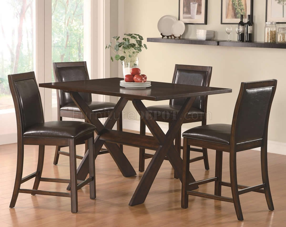 Rich cappuccino modern 5pc counter height dining set w x base for Counter height dining set