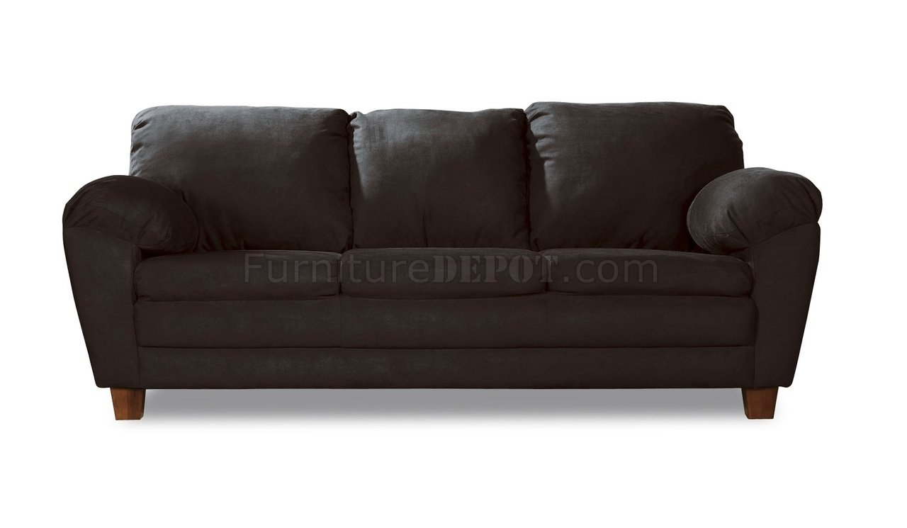 Black fabric transitional sofa w super soft arm pillows for Black fabric couches