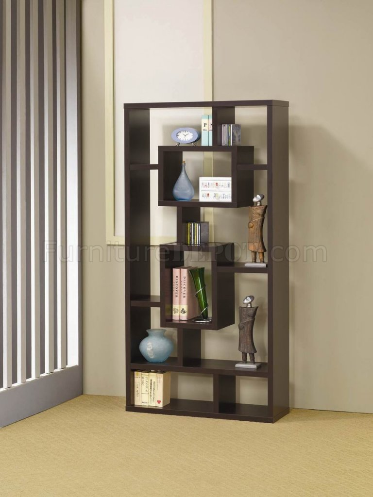 Cappuccino Finish Modern Bookcase W Shelves Amp Display Space