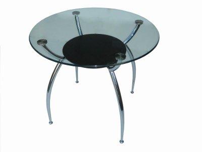 Glass Top Metal Base Modern Dining Table W Shelf