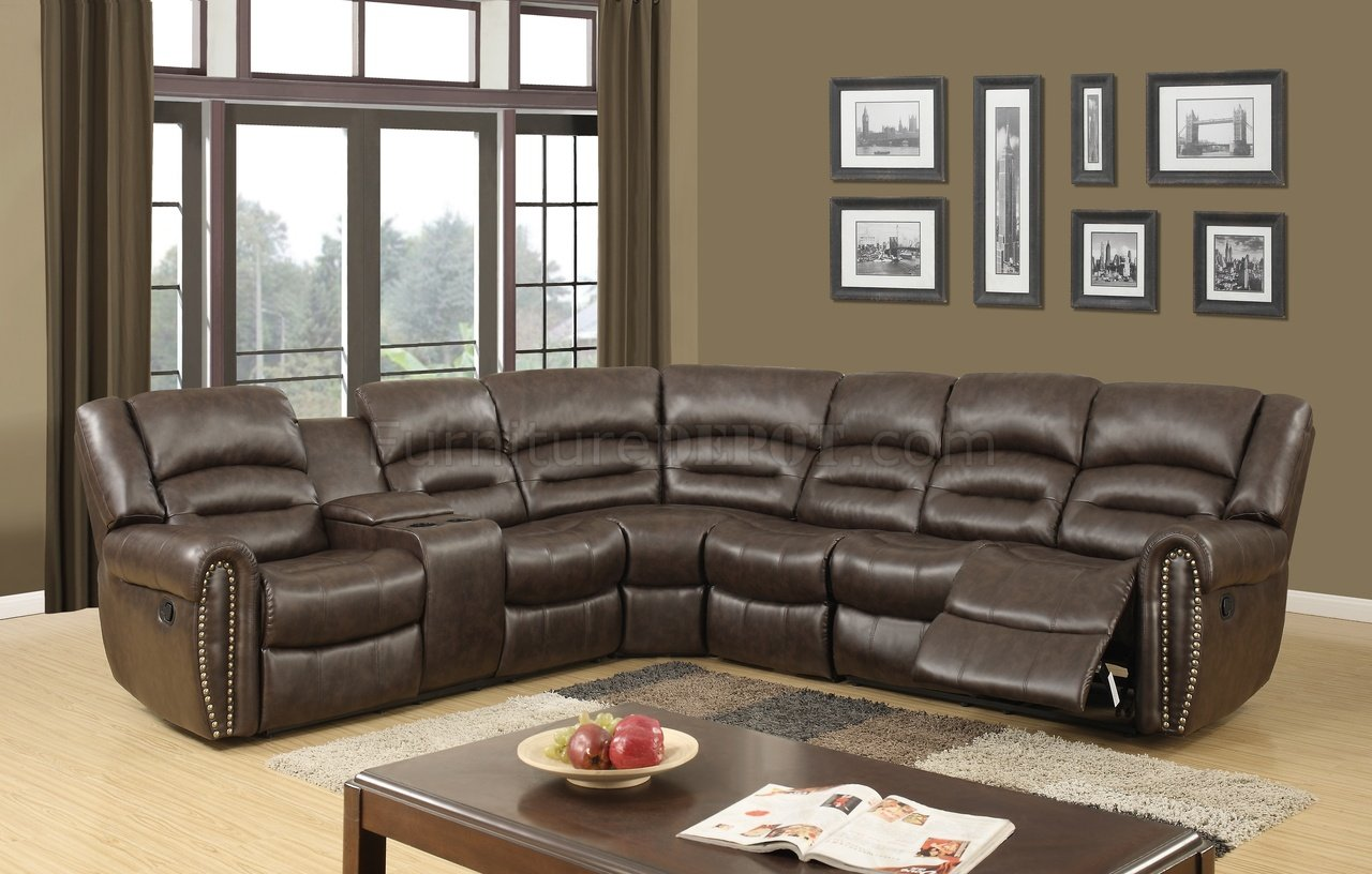 u motion sectional sofa in brown pu by global p