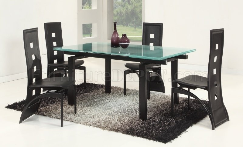 Glass Table Extendable Top Modern Dining Table w/Optional Chairs