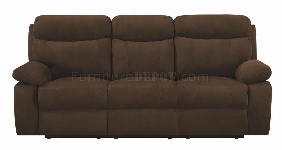 Brown Padded Microfiber Modern Motion Sofa Loveseat Set