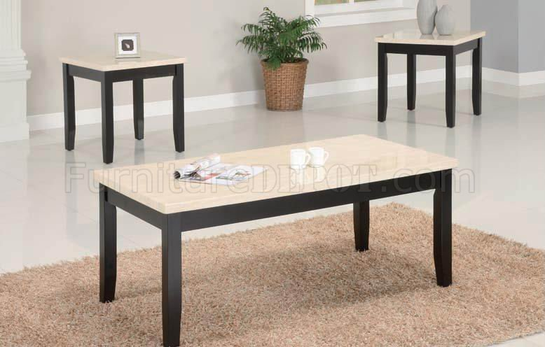 Espresso Finish Modern 3pc Coffee Table Set W Faux Marble Top