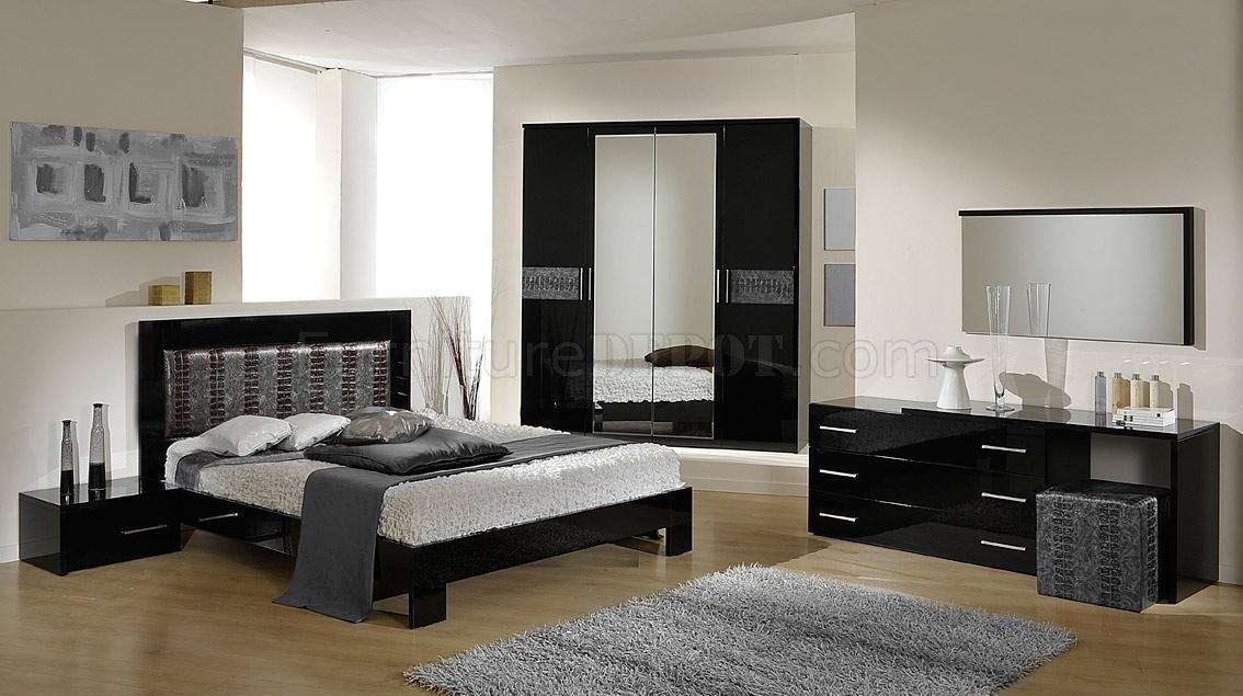 moon black silver 5pc bedroom set by vig w options
