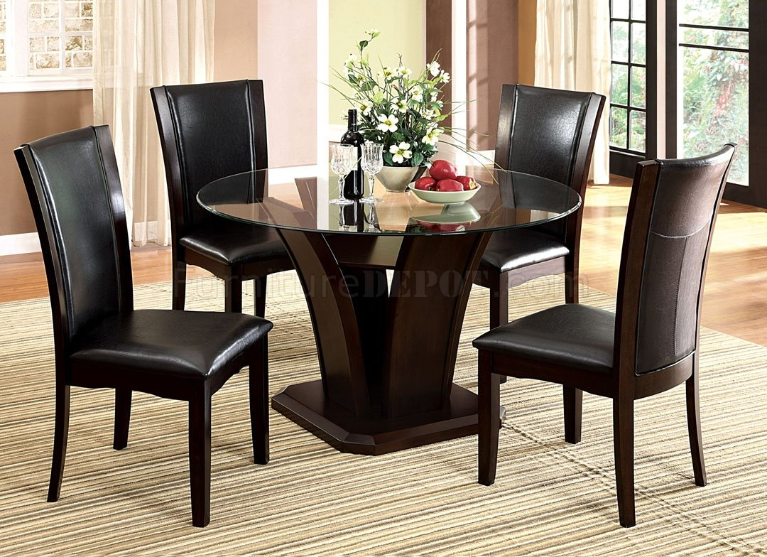 Cm3710rt dining table in dark cherry w optional black chairs for Dining table set