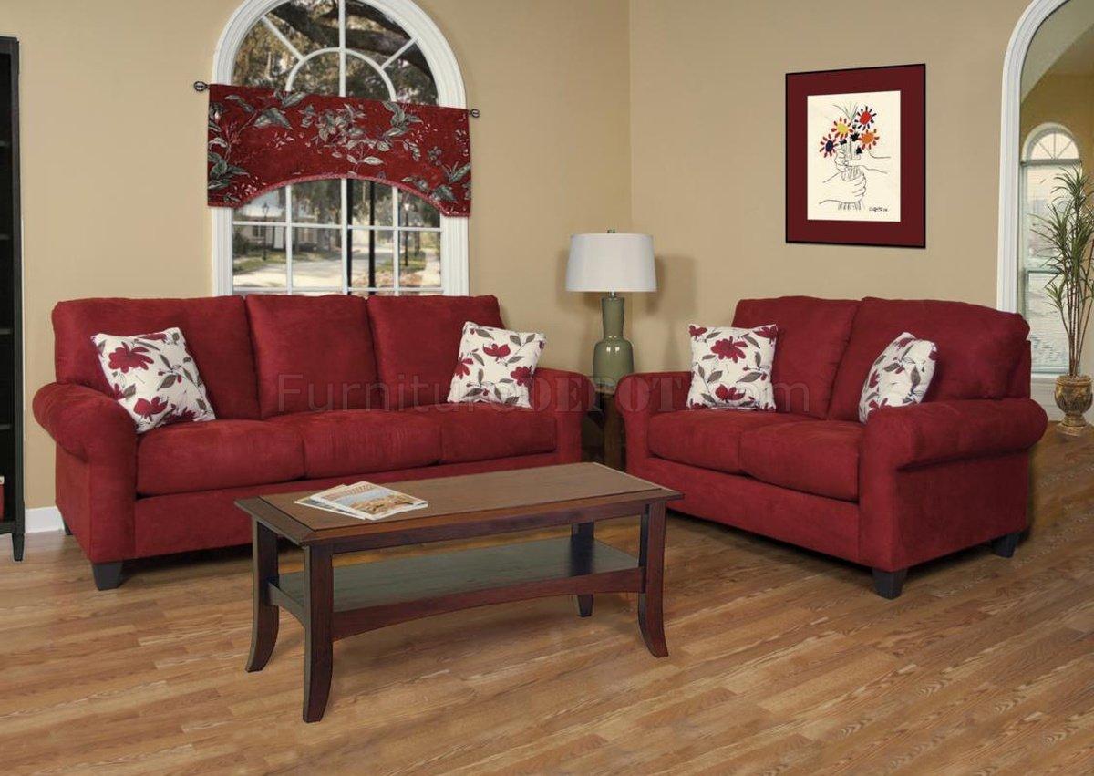 16100 Savannah Sofa Loveseat Set In Cardinal Fabric By Chelsea