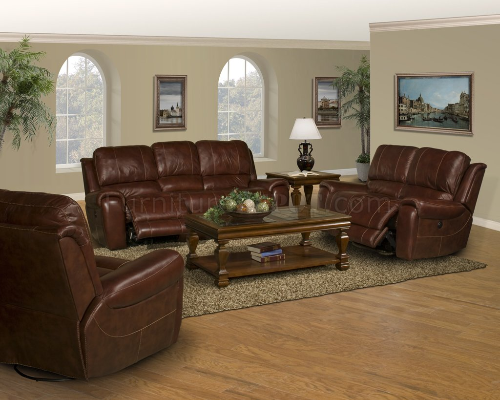 Dark Burgundy Leather Titan Classic Motion Sofa Amp Loveseat Set