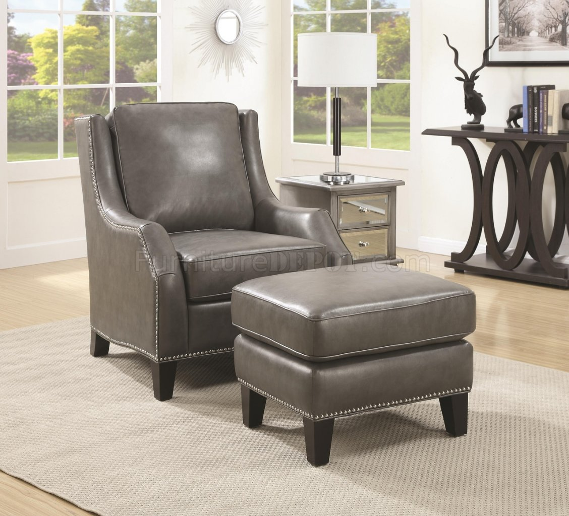 902408 Accent Chair W Ottoman In Grey Bonded Leather By