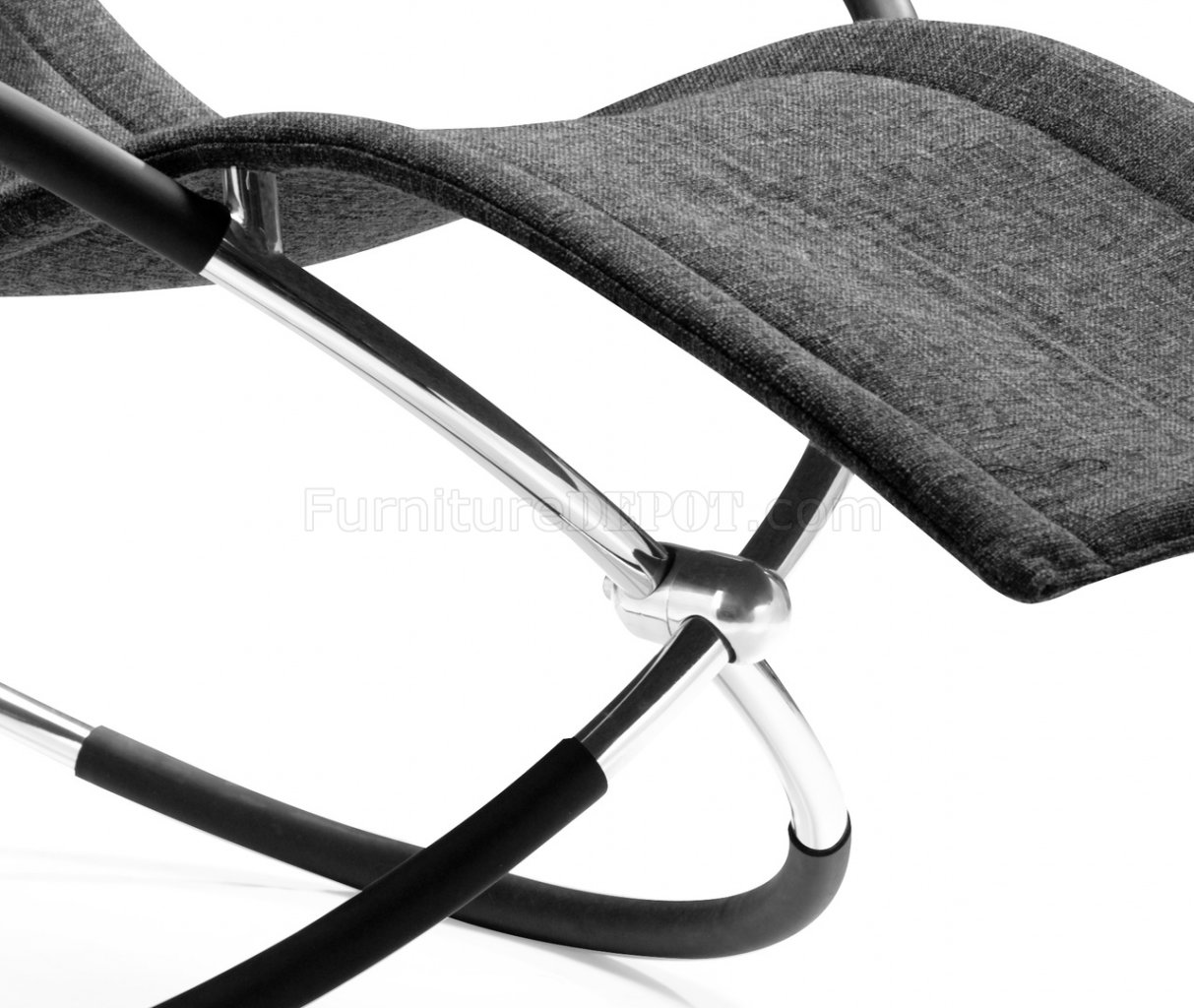 black microfiber modern chaise lounger with chromed steel