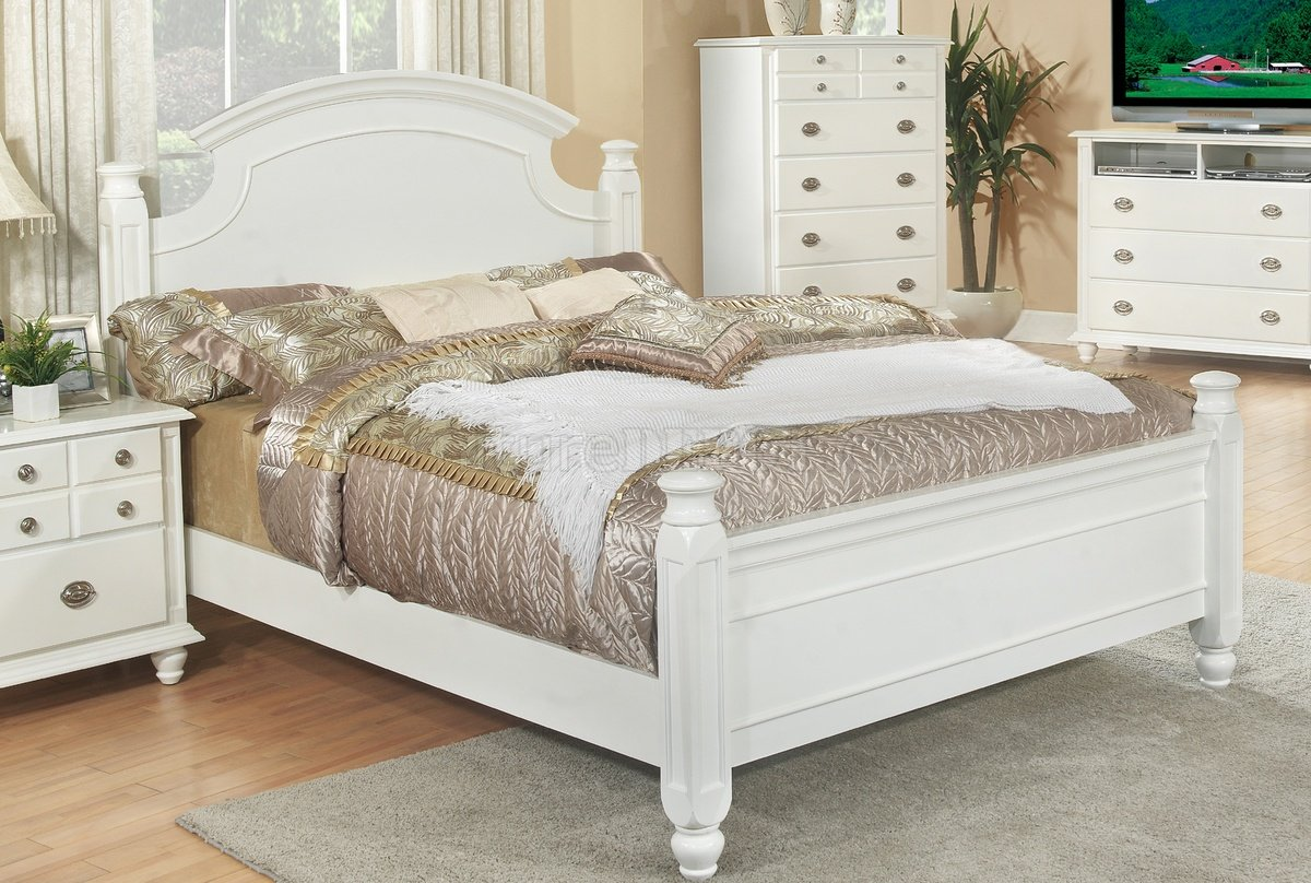 White Finish Transitional 6pc Bedroom Set W Options