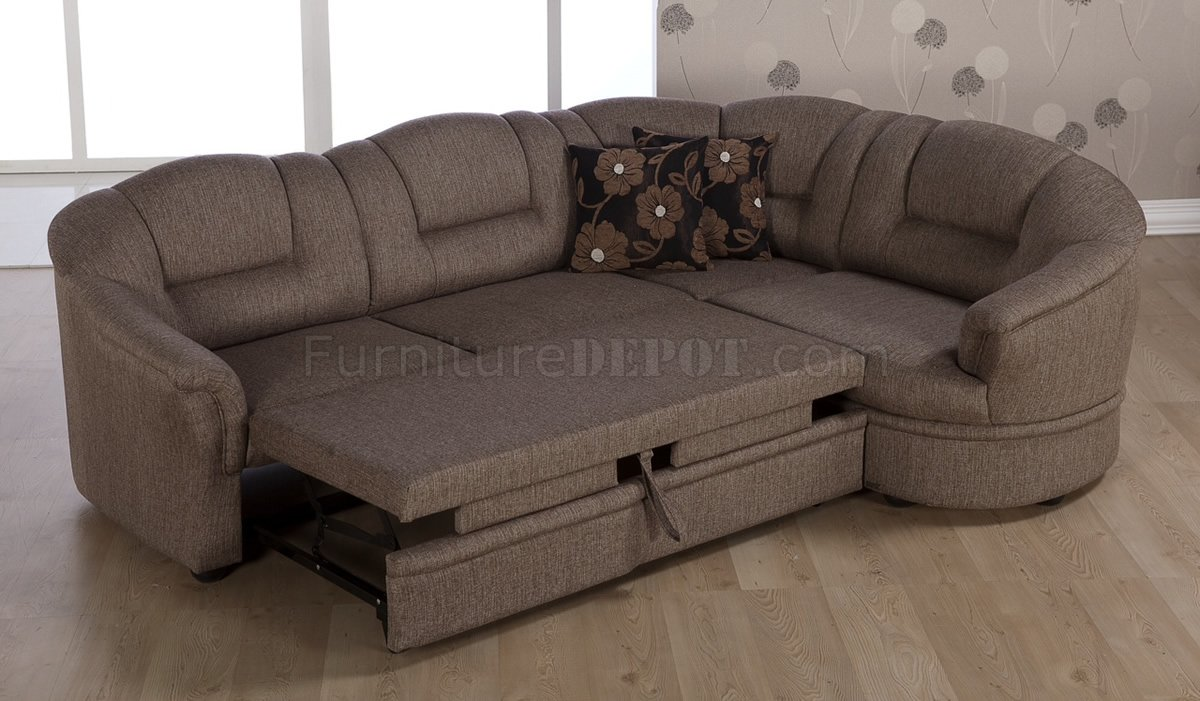 Two Tone Brown Fabric Convertible Sectional Sofa Bed w/Storage