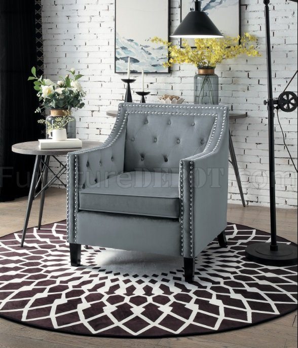 1297gy 1 Set Of 2 Accent Chairs In Gray Velvet By Homelegance