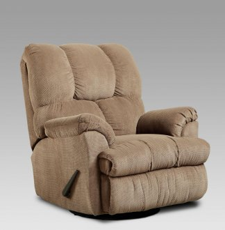 Tan Fabric Elegant Modern Swivel Rocker Recliner