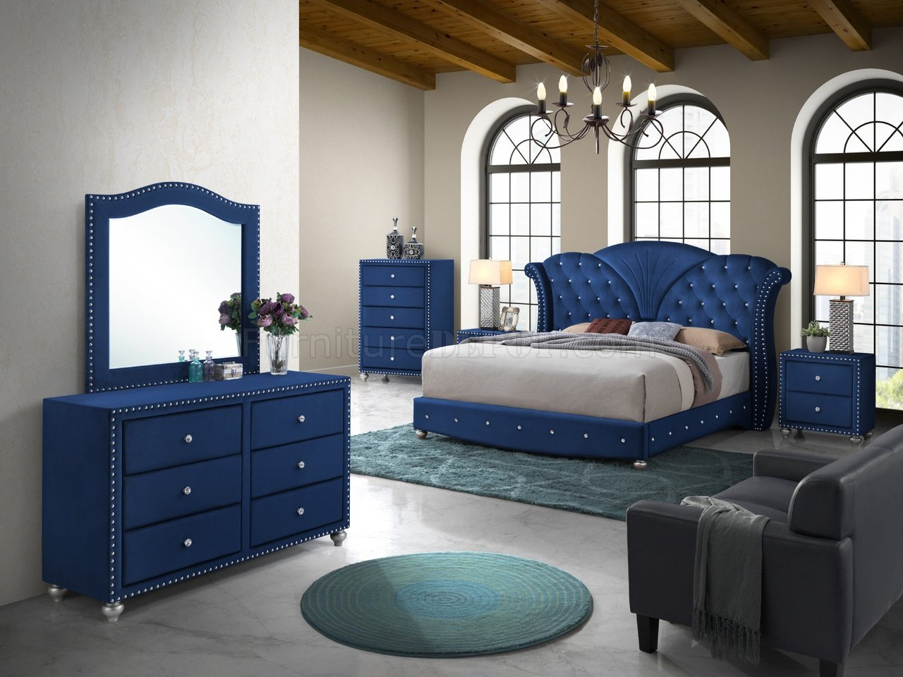 Alana Bedroom Set 5pc In Blue Velvet Fabric