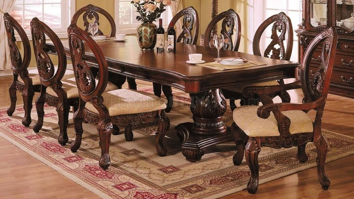Dark Cherry Formal Dining Room Table W Carving Details